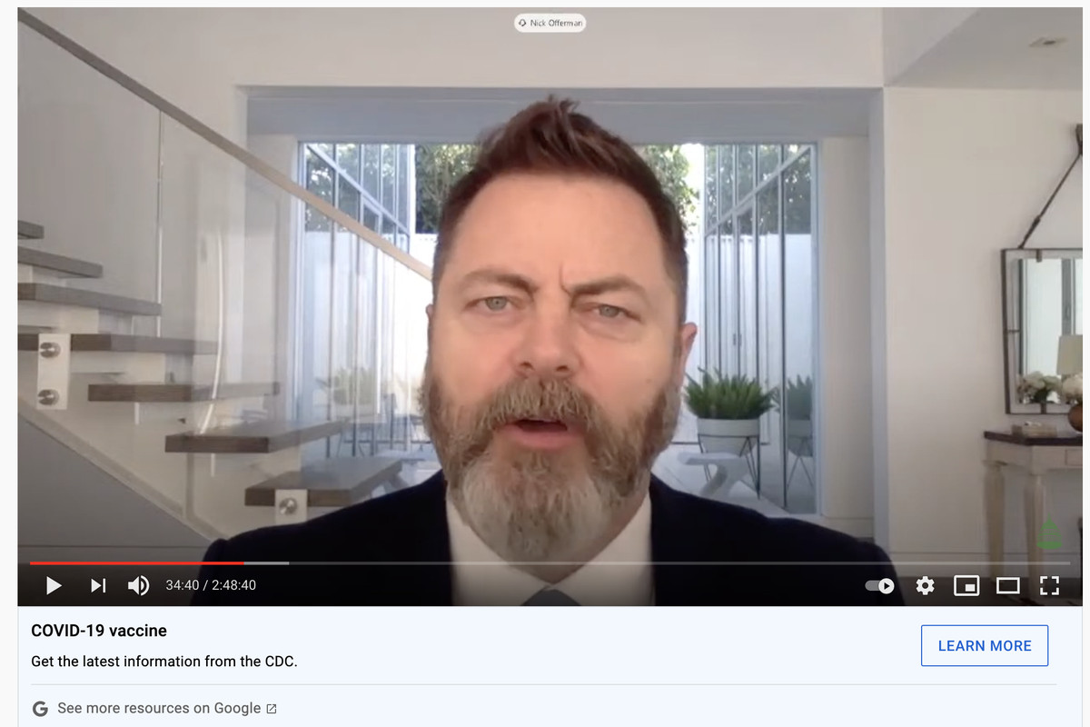 Actor Nick Offerman testifies to a House Energy and Commerce subcommittee about the coronavirus vaccine on Wednesday May 26, 2021.