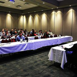 """Participants discuss """"Preparing Your Startup to Scale Up"""" during the MountainWest Capital Network Business Boot Camp in Sandy on Wednesday, March 23, 2016."""