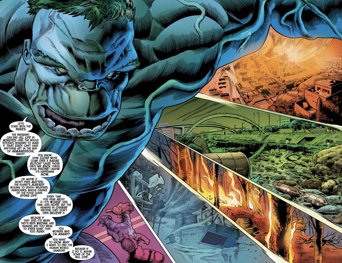 hulk jumps in the air, across multiple apocalyptic landscapes