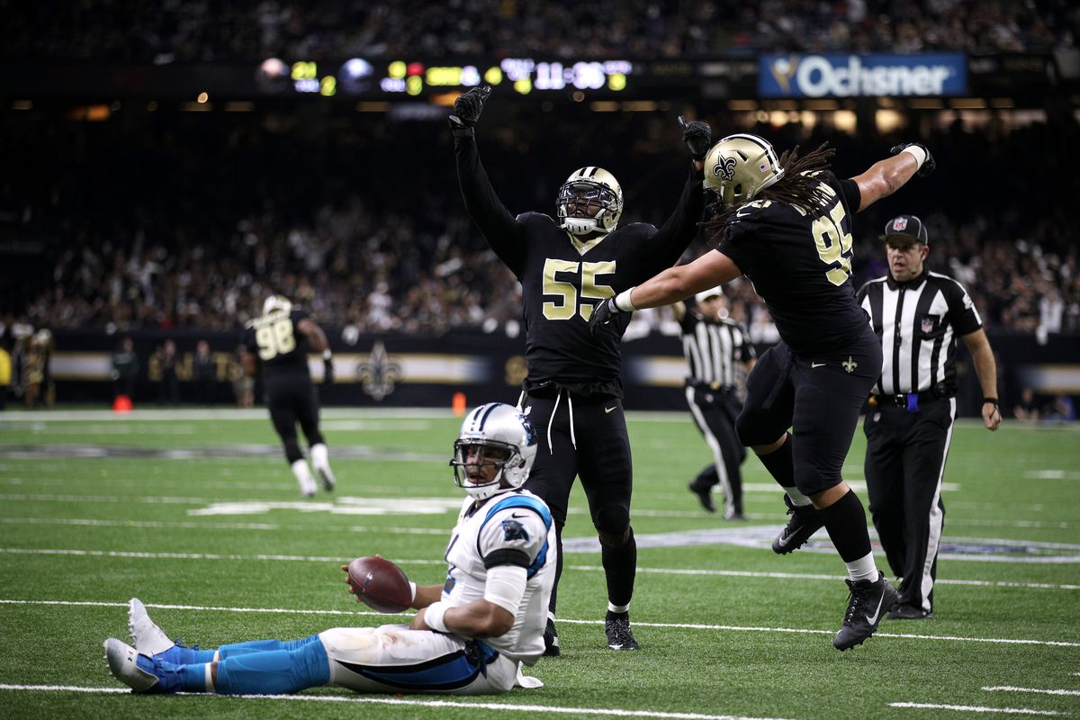 NEW ORLEANS, LA - Jonathan Freeny #55 of the New Orleans  Saints reacts after sacking Cam Newton #1 of the Carolina Panthers during their Wild Card Round game at  the Mercedes-Benz Superdome.