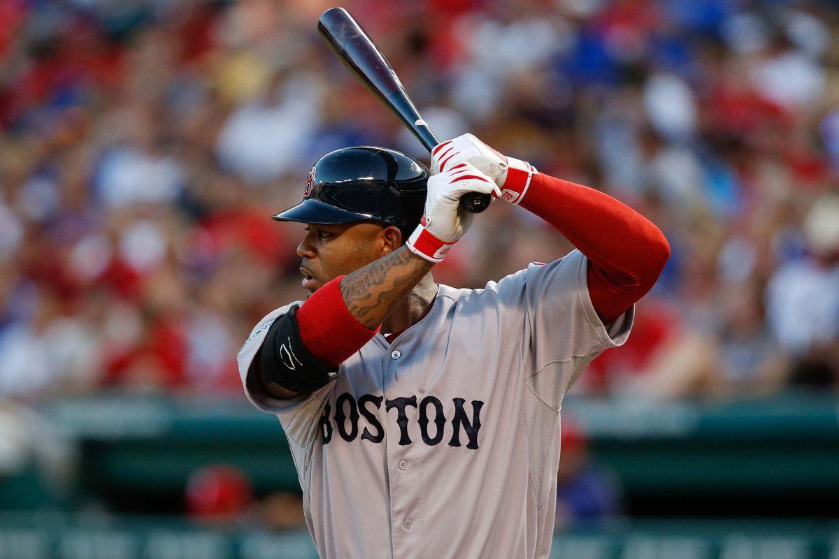 July 24, 2012; Arlington, TX, USA; Boston Red Sox left fielder Carl Crawford (13) during the game against the Texas Rangers at Rangers Ballpark in Arlington. Mandatory Credit: Jim Cowsert-US PRESSWIRE