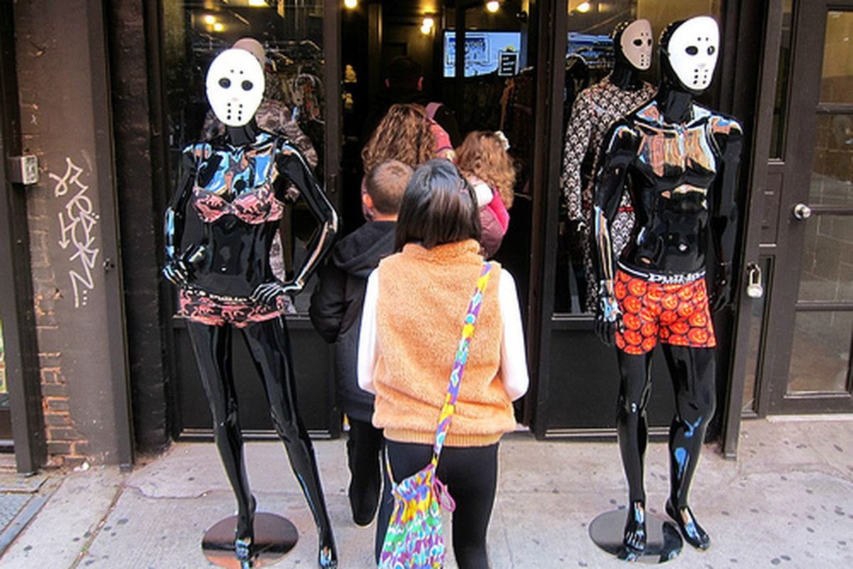 """The mannequins at Pull-In. Image via <a href=""""http://www.flickr.com/photos/scottlynchnyc/8117657150/in/pool-rackedny"""">Scoboco</a>/Racked Flickr Pool."""