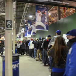 9:19 p.m. Line for the men's room on the left field concourse -