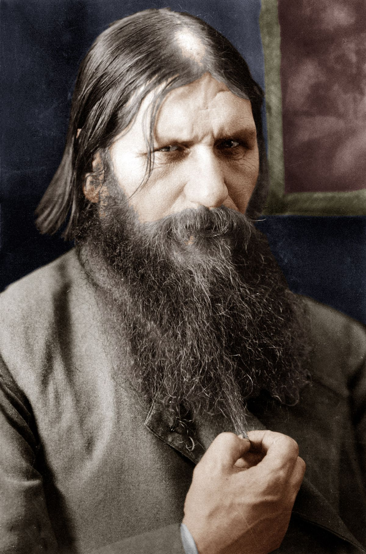 Rasputin (1871-1916) russian adventurer healer of czarevitch , protege of the czarina, he was murdered by prince Ioussoupov here in 1908 colorized document