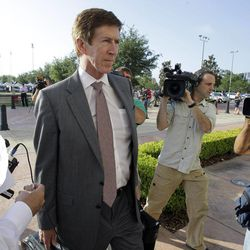 Attorney Mark O'Mara arrives at the Seminole County Criminal Justice Center for the bond hearing of his client George Zimmerman, the neighborhood watch volunteer charged with murdering Trayvon Martin, Friday, April 20, 2012, in Sanford, Fla. O'Mara is asking the Seminole County judge to let Zimmerman post bail at the hearing Friday.
