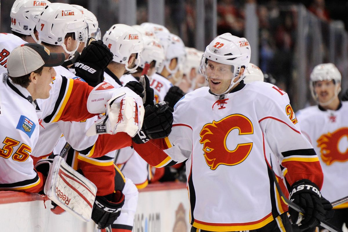 ST PAUL, MN - NOVEMBER 27: Lee Stempniak #22 of the Calgary Flames celebrates scoring a goal against the Minnesota Wild in the first period on November 27, 2011 at Xcel Energy Center in St Paul, Minnesota. (Photo by Hannah Foslien/Getty Images)