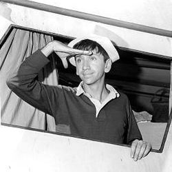 """Bob Denver is seen as Gilligan in """"Gilligan's Island"""" in November 1963. The role made Denver an iconic figure to generations of TV viewers."""