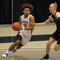 PULLMAN, WA - DECEMBER 13: Washington State guard Isaac Bonton (10) cuts to the hoop during the second half of a non-conference matchup between the Portland State Vikings and the Washington State Cougars on December 13, 2020, at Beasley Coliseum in Pullman, WA.