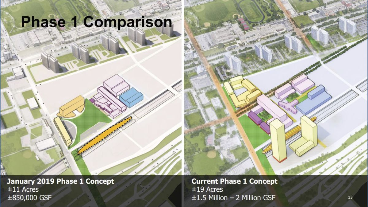 Two images showing the 11-acre, 850,000 square foot January concept and the 19-acre, 1.5 to 2 million square foot current concept.