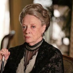 The Dowager looking severe in black.