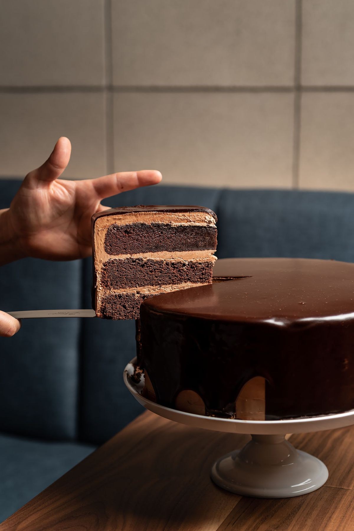 A thick slice of rich chocolate cake from Birdie G's.