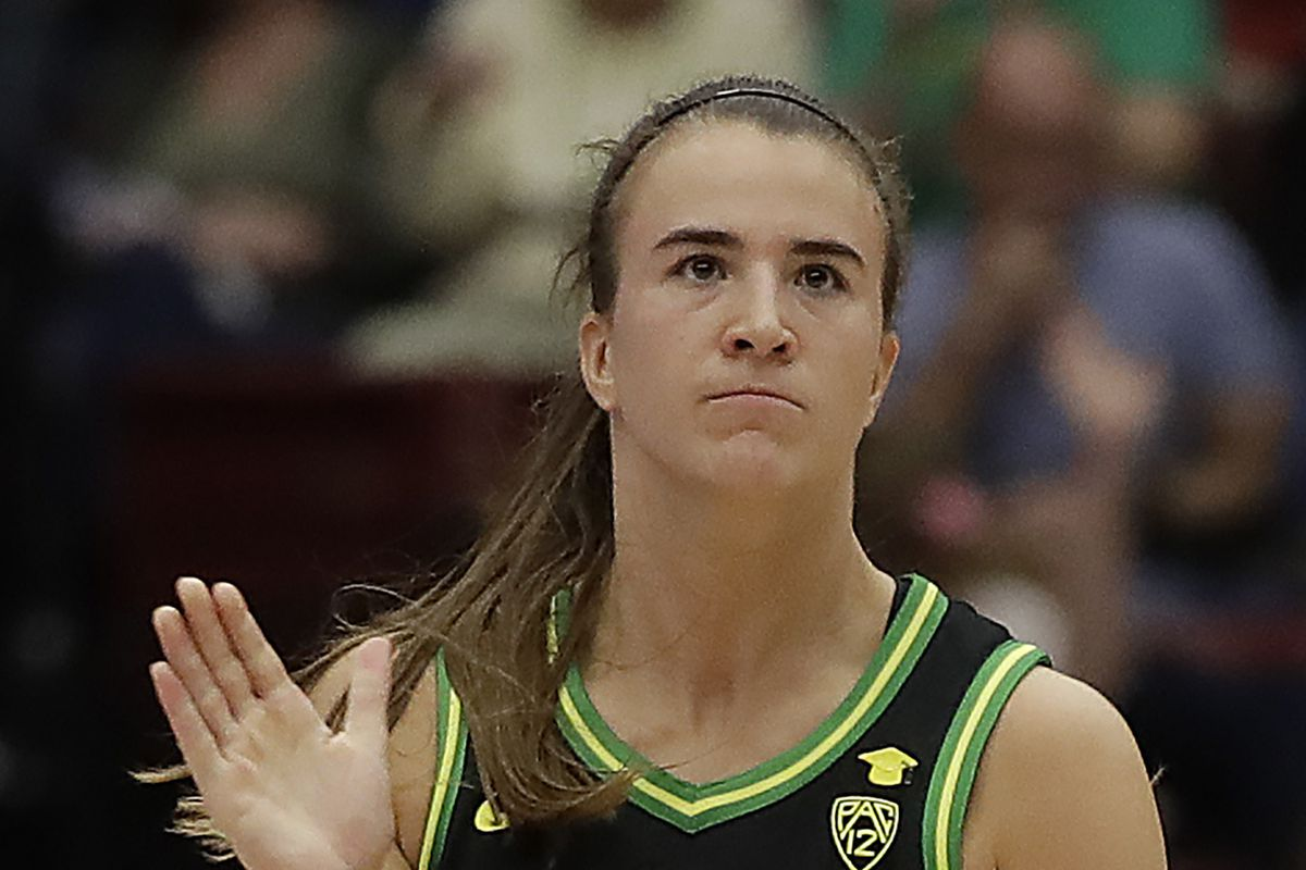 Oregon's Sabrina Ionescu celebrates a score against Stanford Monday night.