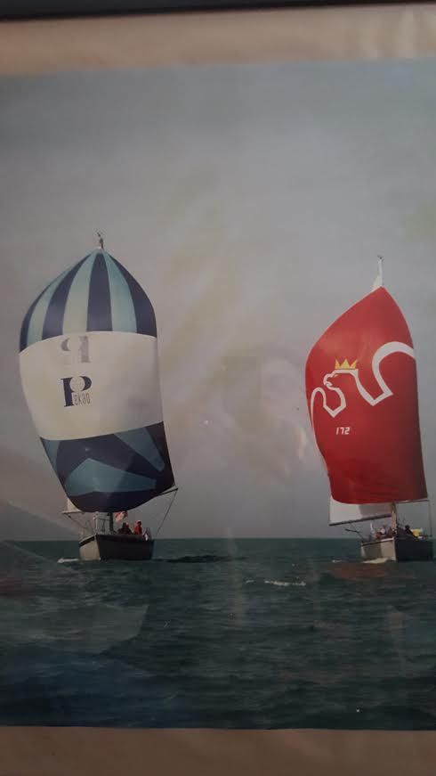 """The """"Free Poland"""" (with blue-and-white sail, at left) and the """"Solidarity"""" in the 1991 World Polonia Sailing Jamboree. 