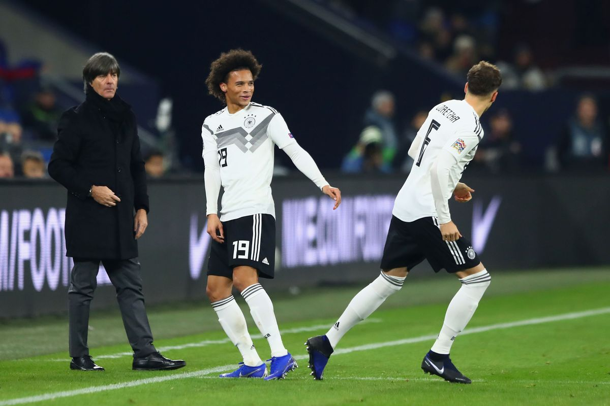 GELSENKIRCHEN, GERMANY - NOVEMBER 19: Leroy Sane of Germany is substituted for Leon Goretzka of Germany during the UEFA Nations League A group one match between Germany and Netherlands at Veltins-Arena on November 19, 2018 in Gelsenkirchen, Germany.