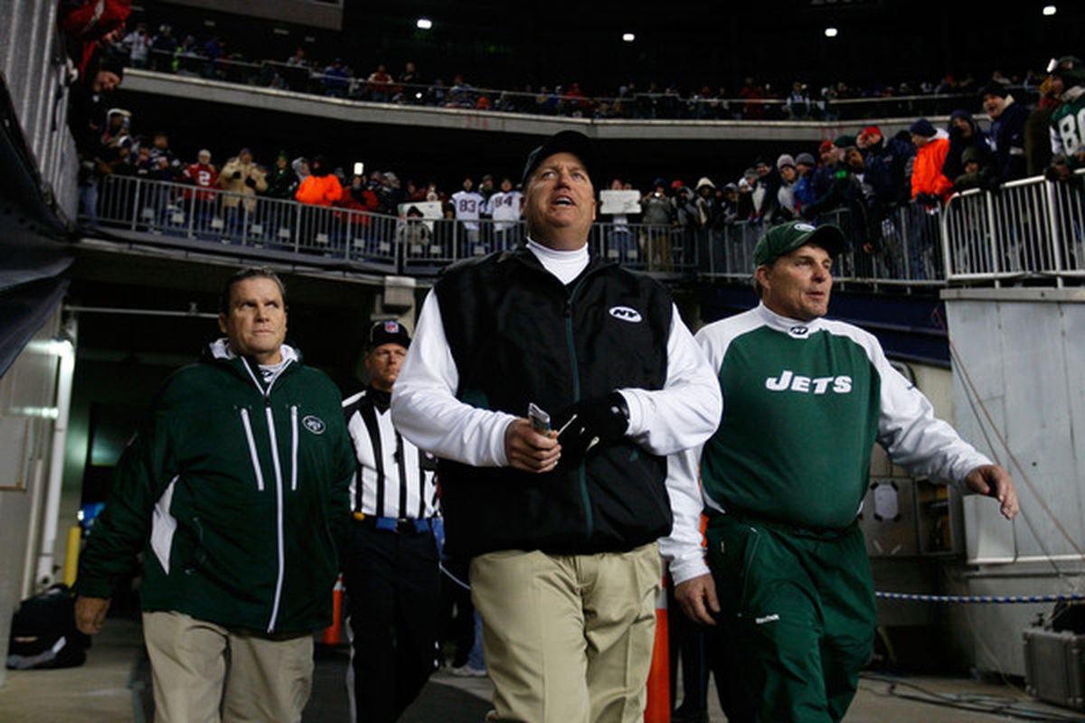 FOXBORO MA - DECEMBER 06:  Head coach Rex Ryan of the New York Jets walks on the field for the start of their game against the New England Patriots at Gillette Stadium on December 6 2010 in Foxboro Massachusetts.  (Photo by Jim Rogash/Getty Images)