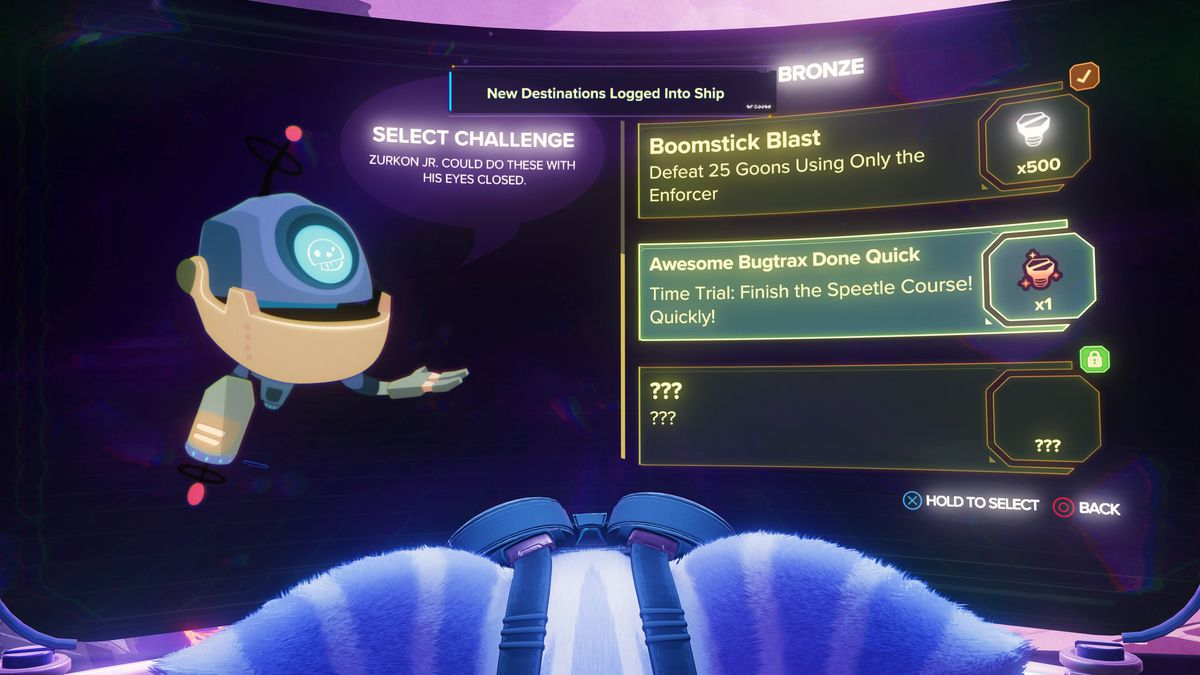 The arena menu in Ratchet & Clank: Rift Apart