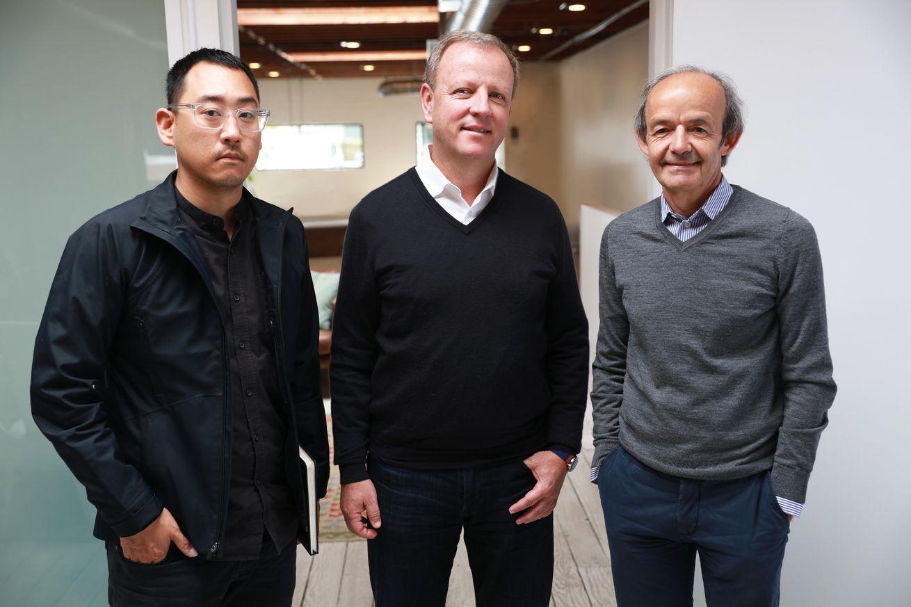 <em>(L to R) Evelozcity head designer Richard Kim, CEO Stefan Krause, and head of technology Ulrich Kranz.</em>