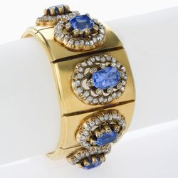 A French Antique 18 karat gold bracelet with blue sapphires and diamonds. Circa 1880s. $65,000