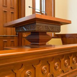 This pulpit was found completely intact following the tabernacle fire and was placed in the chapel of the Provo City Center Temple.
