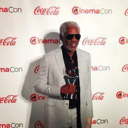 Morgan Freeman at lunch at Bacchanal Buffet last Tuesday. Photo: Courtesy Caesars Entertainment