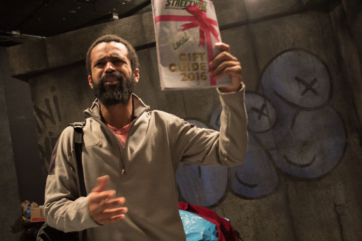 """Edgar Sanchez plays Slim in Javon Johnson's play """"Hobo King,"""" now in its world premiere by Congo Square Theatre. (Photo: Sam Roberson)"""