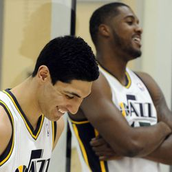 The Jazz's Enes Kanter, left, and Derrick Favors have a laugh as one of their teammates gets their picture taken during media day at the Zions Bank Basketball Center on Sept. 30.