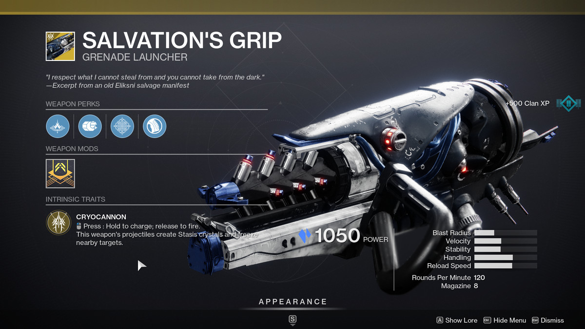 The Salvation's Grip Exotic Weapon from Destiny 2
