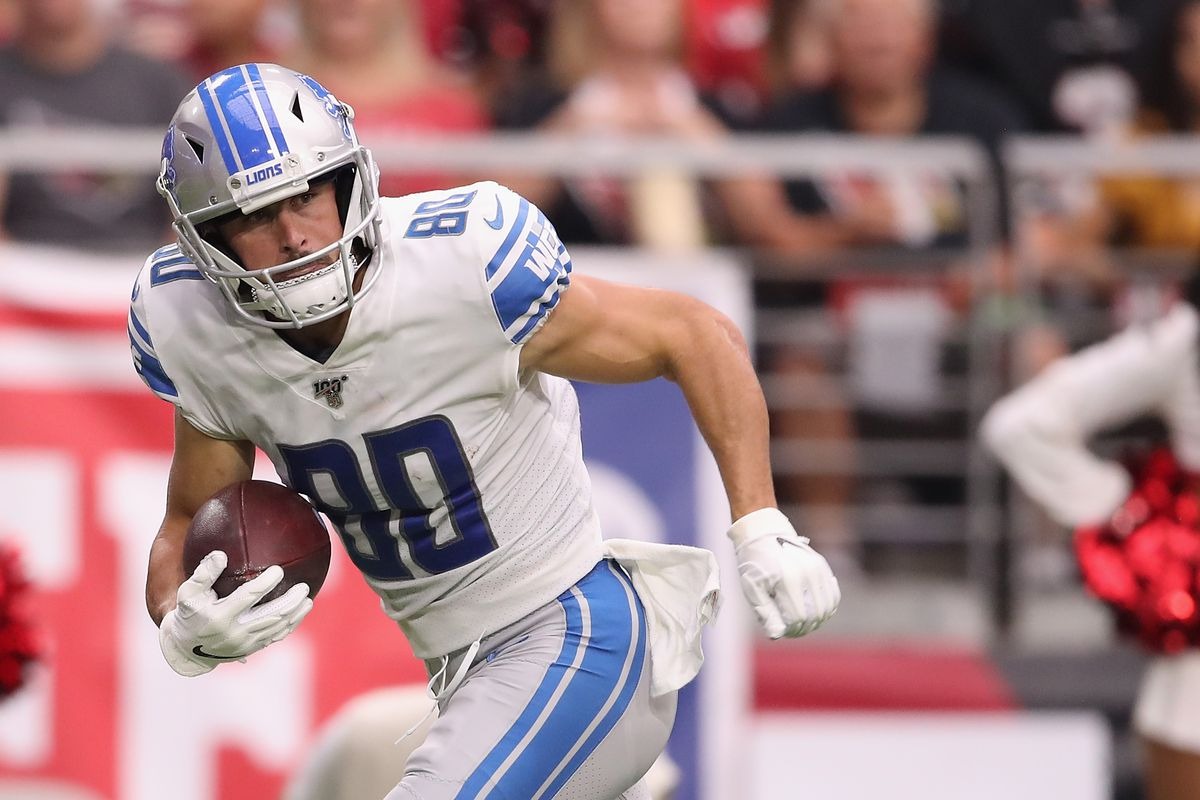 Wide receiver Danny Amendola of the Detroit Lions scores a 47 yard touchdown reception against the Arizona Cardinals during the first half of the NFL game at State Farm Stadium on September 08, 2019 in Glendale, Arizona.