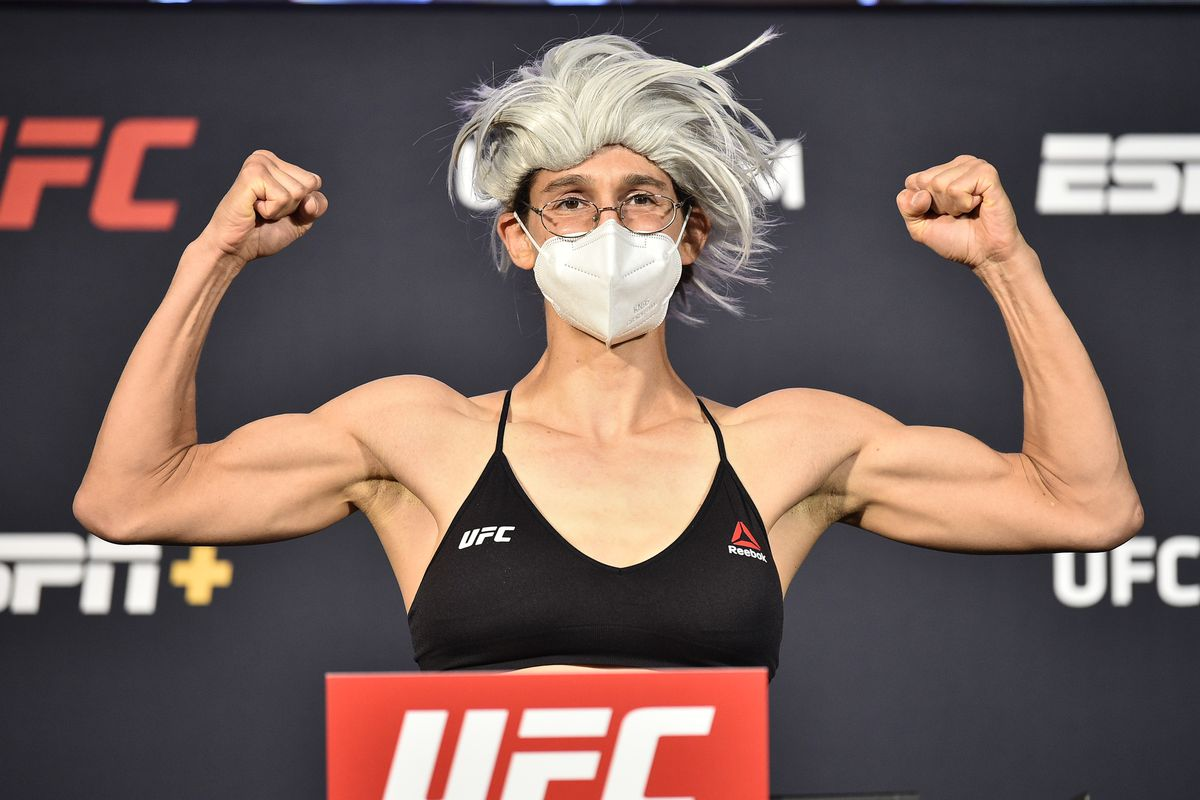 Roxanne Modafferi poses on the scale during the UFC weigh-in at UFC APEX on June 19, 2020 in Las Vegas, Nevada.