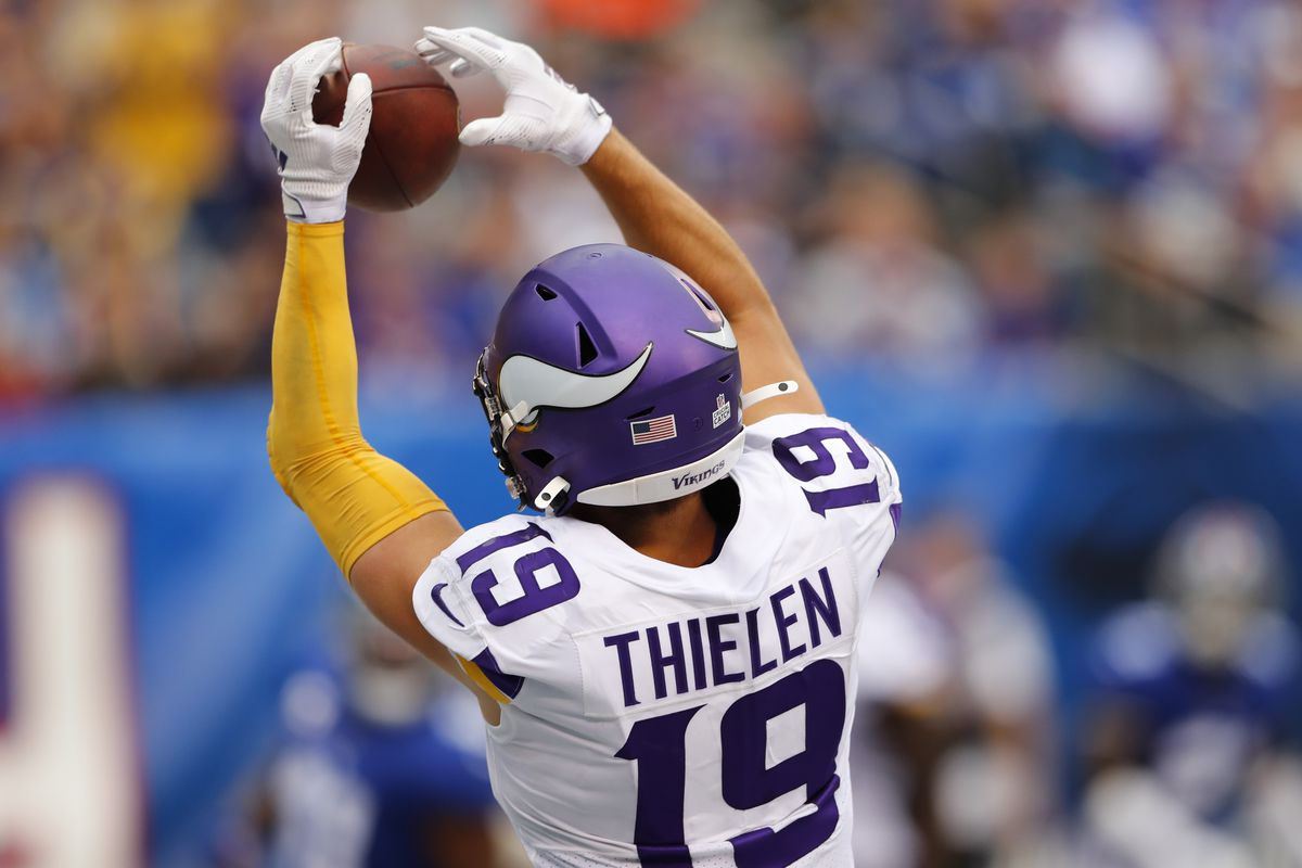 Minnesota Vikings wide receiver Adam Thielen makes a catch for a touchdown against the New York Giants during the second half at MetLife Stadium.