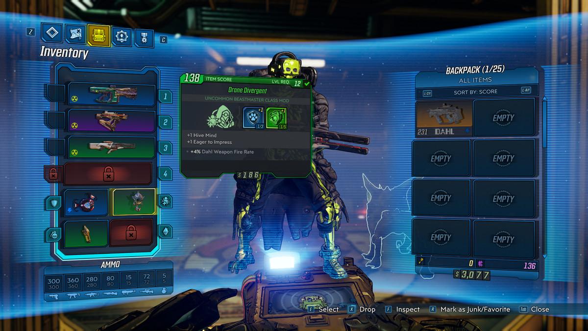 A menu screen showing off class mods in Borderlands 3