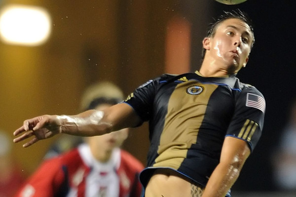 CHESTER PA - SEPTEMBER 01: Kyle Nakazawa #13 of the Philadelphia Union heads the ball during the game against Chivas de Guadalajara at PPL Park on September 1 2010 in Chester Pennsylvania. The Union won 1-0.  (Photo by Drew Hallowell/Getty Images)