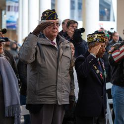 A group of veterans during the National Anthem at Soldier Field on Monday, Nov. 11, 2019.