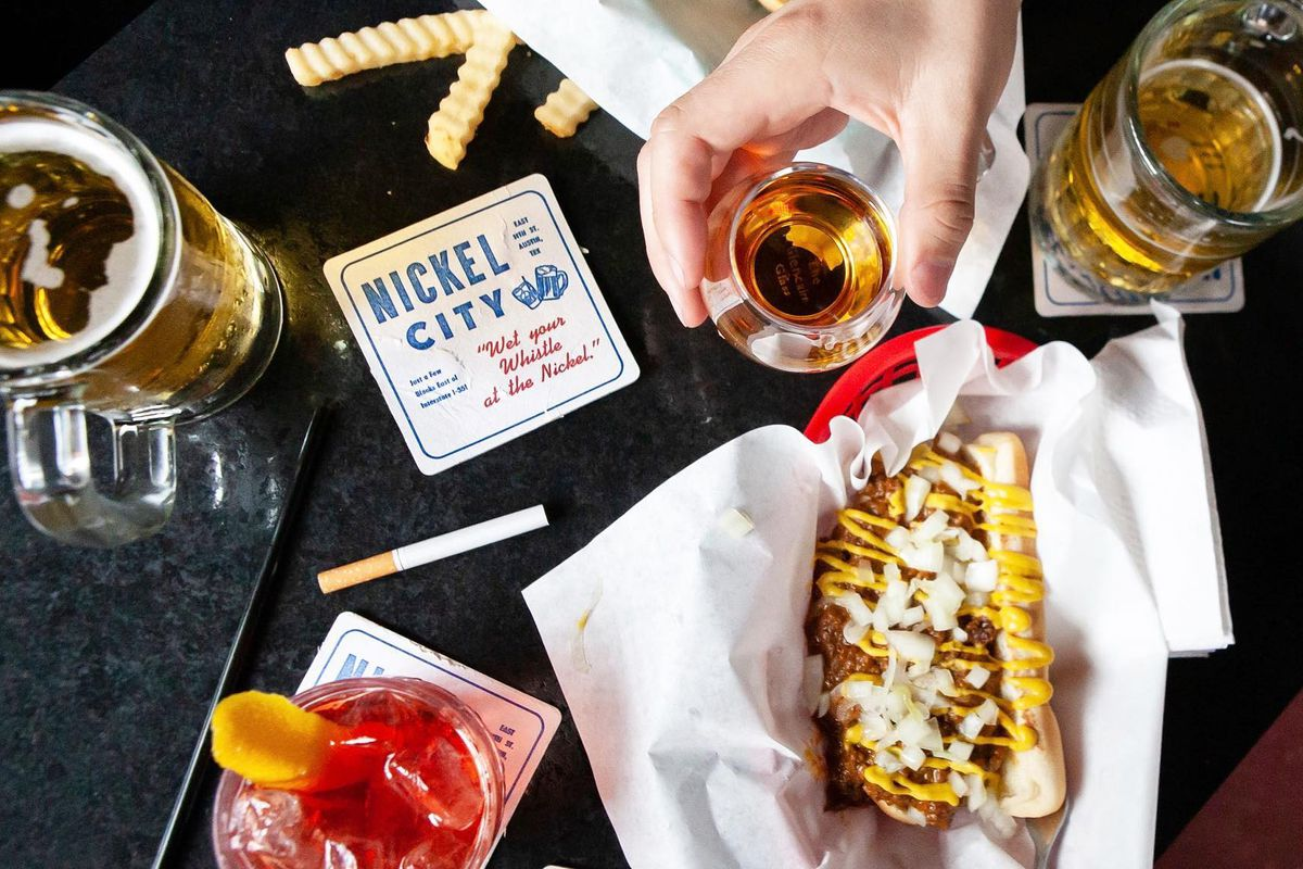 Drinks and chili dogs at Nickel City