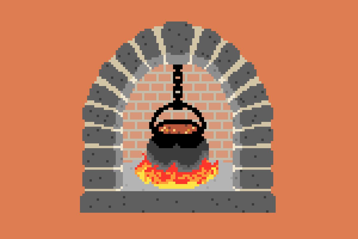 Pixel art of a stewpot over a flaming hearth.