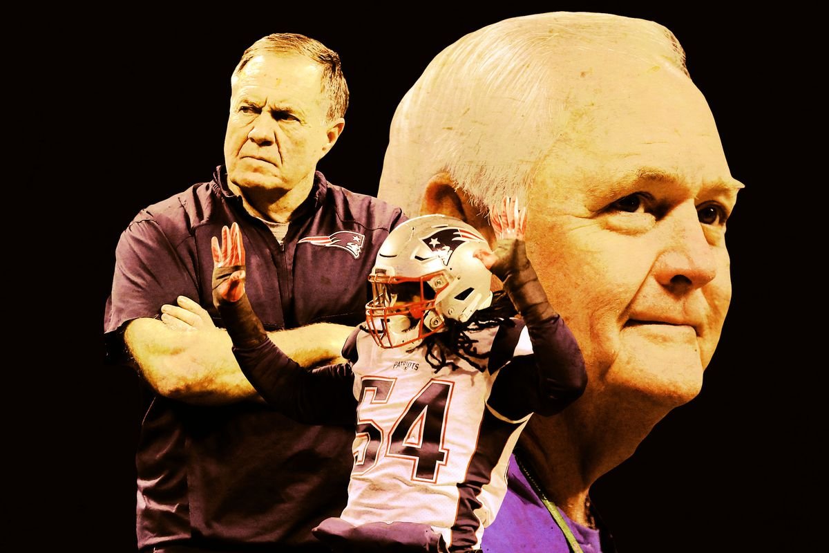 Bill Belichick, Dont'a Hightower, and Wade Phllips