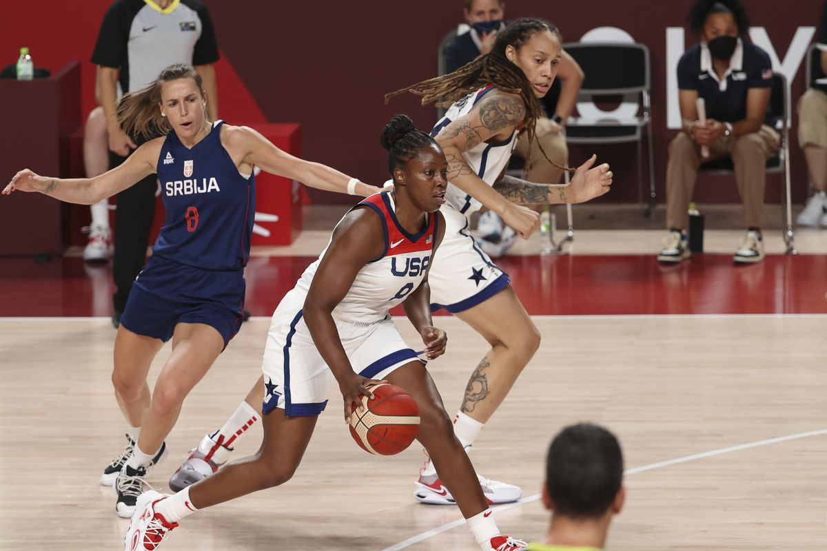 Chelsea Gray, Brittney Griner of USA, Nevena Jovanovic of Serbia (left) during the Women's Semifinal Basketball game between United States and Serbia on day fourteen of the Tokyo 2020 Olympic Games at Saitama Super Arena on August 6, 2021 in Saitama, Japan.