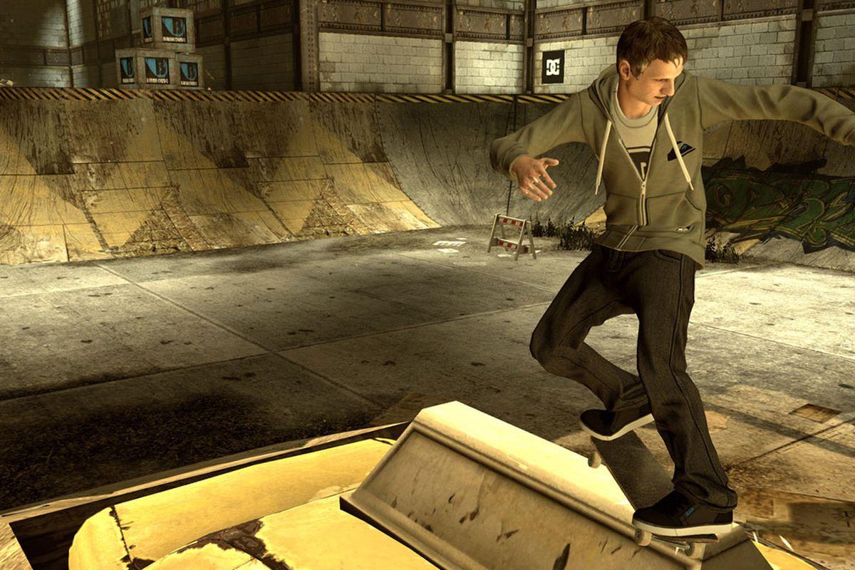 Tony Hawk doing a front-side grind in Tony Hawk's Pro Skater HD