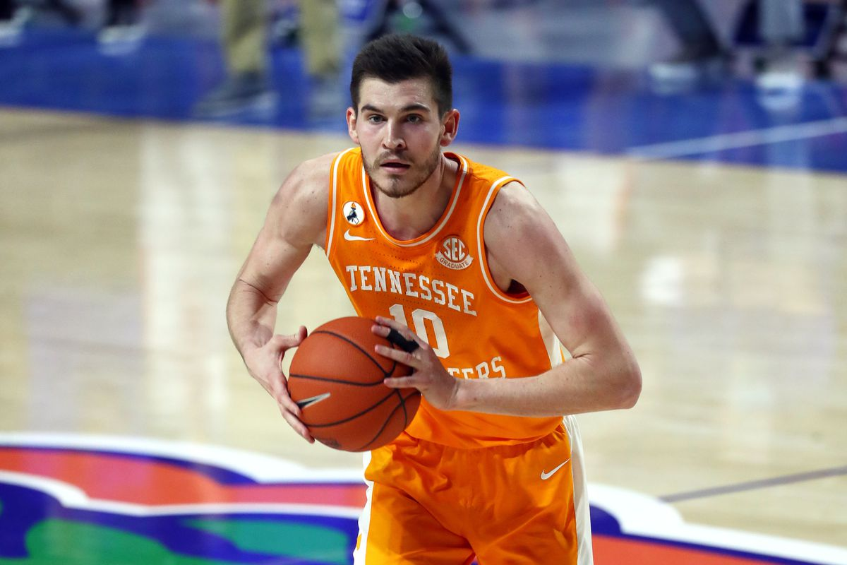 Tennessee Volunteers forward John Fulkerson dribbles the ball against the Florida Gators during the second half at Billy Donovan Court at Exactech Arena.