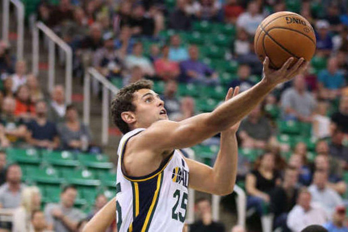 Utah Jazz guard Raul Neto (25) drives for a layup as the Utah Jazz and the Portland Trailblazers play NBA pre-season basketball Monday, Oct. 12, 2015, in Salt Lake City.