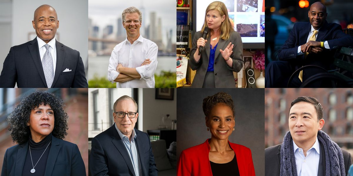 (Clockwise from top left) A collage of portraits of New York City mayoral candidates Eric Adams, Shaun Donovan, Kathryn Garcia, Ray McGuire, Andrew Yang, Maya Wiley, Scott Stringer, and Dianne Morales.