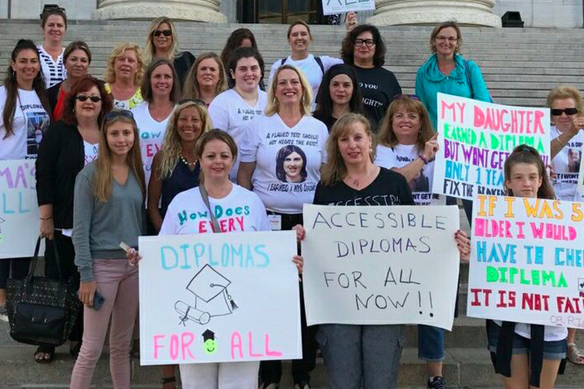 Parent rally outside the state education building for more diploma options. (Courtesy Betty Pilnik)