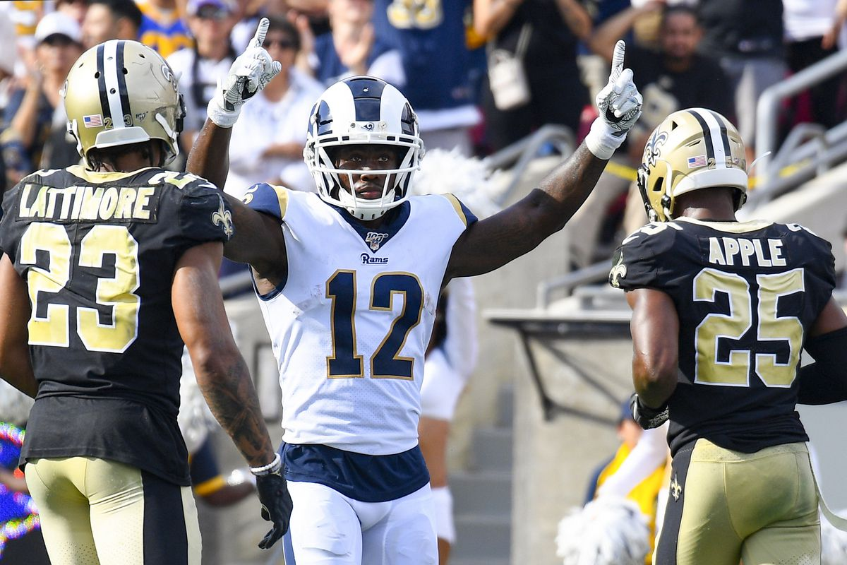 Los Angeles Rams WR Brandin Cooks celebrates a touchdown during a Week 2 game against the New Orleans Saints, Sep. 15, 2019.