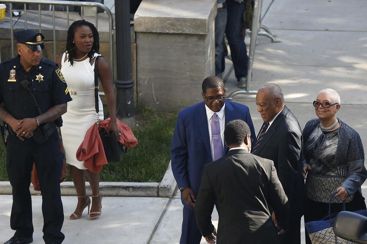 Bill Cosby arrives for his sexual assault trial with his wife Camille Cosby, right, at the Montgomery County Courthouse in Norristown, Pa., on Monday, June 12, 2017.