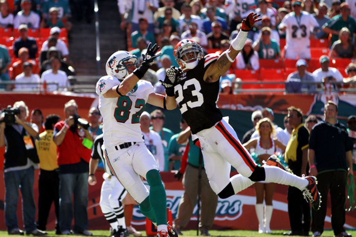 MIAMI - DECEMBER 05:  Defensive back Joe Haden #23 of the Cleveland Browns defends against wide reciever Brian Hartline #82 of the Miami Dolphins at Sun Life Stadium on December 5 2010 in Miami Florida.  (Photo by Marc Serota/Getty Images)
