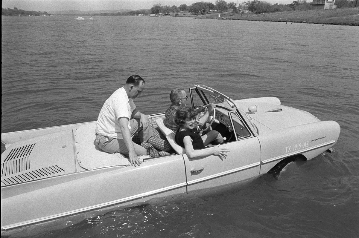 Lyndon B. Johnson in his Amphicar