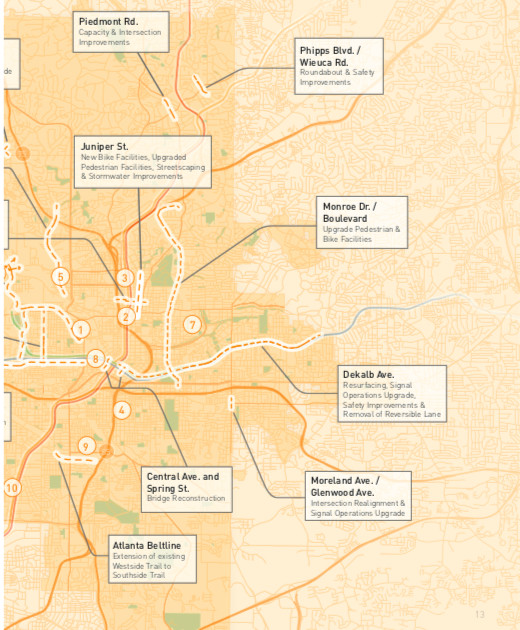 A graphic showing roadway and bikeway enhancements coming to Atlanta.
