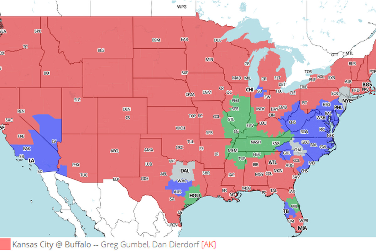 Tv broadcast map kansas city chiefs vs buffalo bills nfl week 9 just like the broncos you can study denvers division rival this weekend by watching kansas citys game in buffalo gumiabroncs Gallery