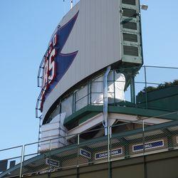 Work taking place under the scoreboard