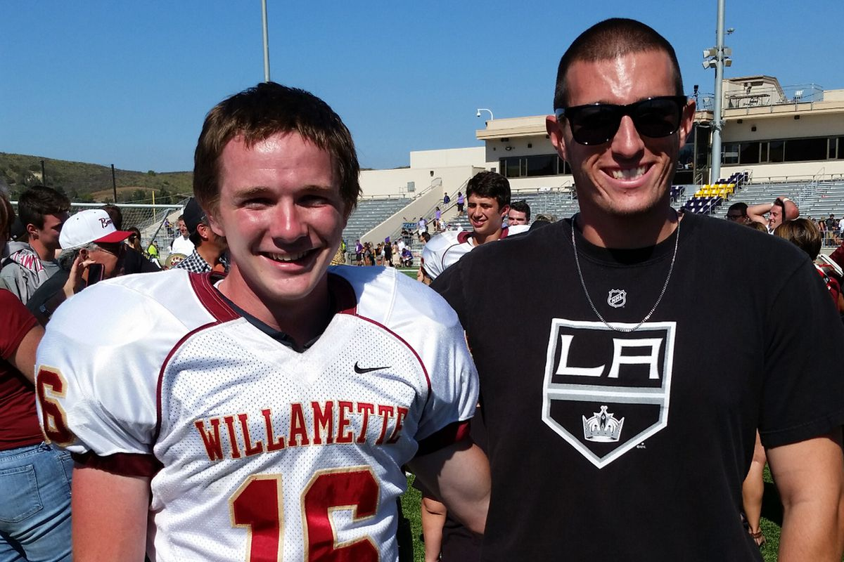 Conner Mertens (left) and Mitch Eby met as Mertens kicked six PATs in a 42-24 win over Cal Lutheran.